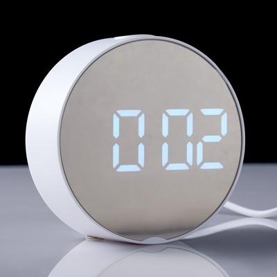 Часы-будильник электронные, с термометром, белые цифры, круглые, 9.5х9.5 см