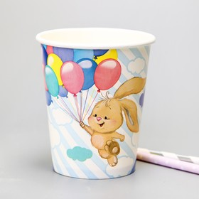 """Glass paper """"Bunny with balloons"""", 250 ml"""