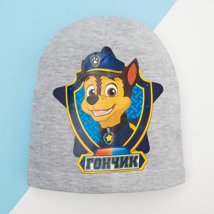 "Шапка детская Paw Patrol ""Гончик""  размер 52, серый"
