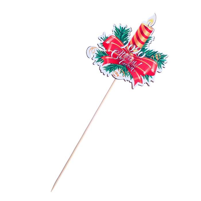 """Топпер с наклейкой """"Новогодняя свеча"""""""