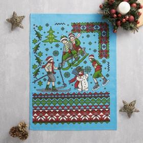 Полотенце вафельное Новогодняя сказка 45х60 см, голубой, хлопок 100%, 160 г/м2