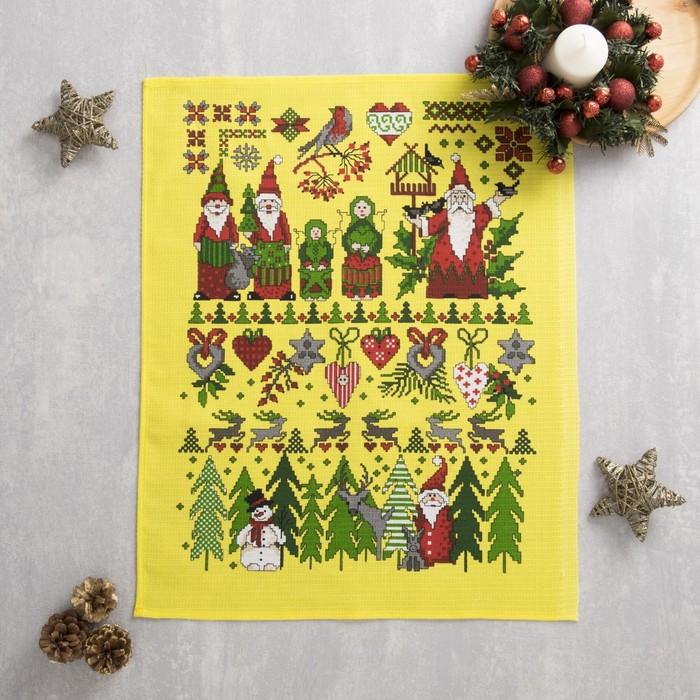 Полотенце вафельное Новогодняя сказка 45х60 см, желтый, хлопок 100%, 160 г/м2