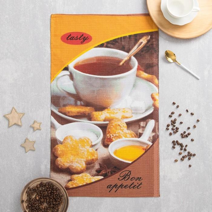 Полотенце вафельное Чай с печеньем 35х60 см, 160 г/м2, хлопок 100%