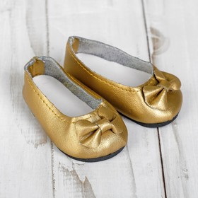 """Shoes for doll """"Bow"""", foot length: 7 cm, color gold"""