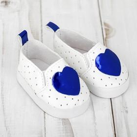 Мокасины для куклы «Сердечко», длина стопы: 7 см, цвет синий