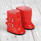 Сапоги для куклы «Застёжки», длина подошвы: 7 см, цвет красный - фото 105513187
