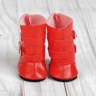 Сапоги для куклы «Застёжки», длина подошвы: 7 см, цвет красный - фото 105513189