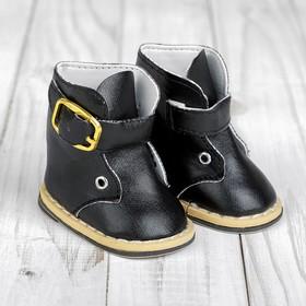 Ботинки для куклы на застежке, длина подошвы: 7,5 см, цвет чёрный