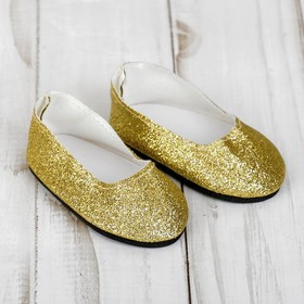 "Shoes for dolls ""Glitter"", foot length: 7 cm, color gold"