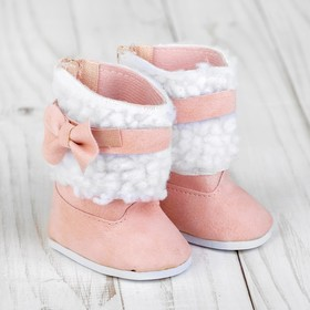 Сапоги для куклы на молнии «Бантик», длина подошвы: 7 см, цвет розовый