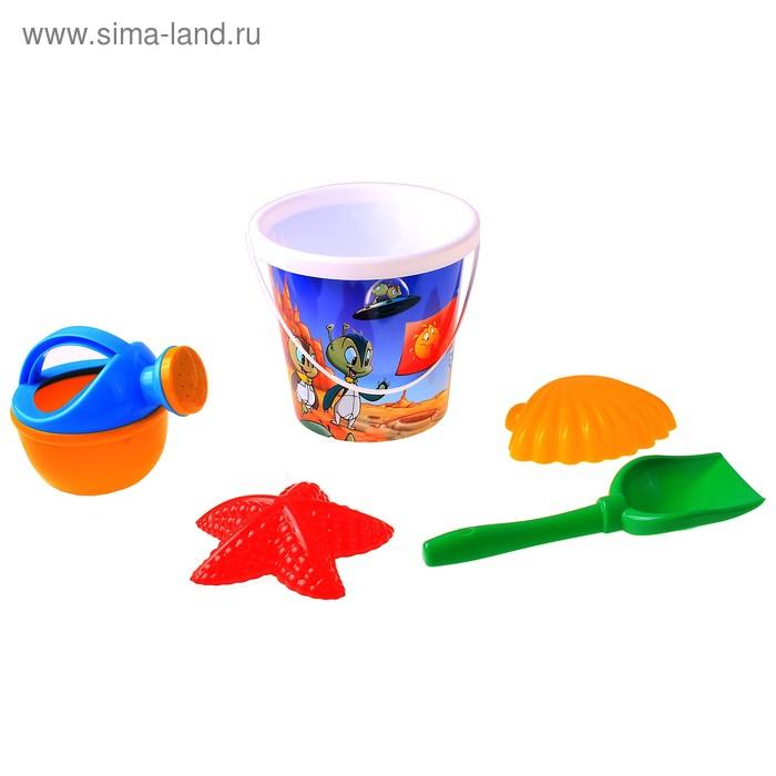 Песочный набор №360: ведро с наклейкой, лопатка, 2 формочки, лейка малая