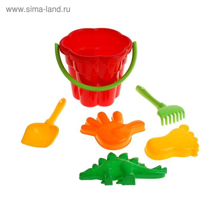 Песочный набор №365: ведро, лопатка , грабельки , формочки 3 шт., цвета МИКС