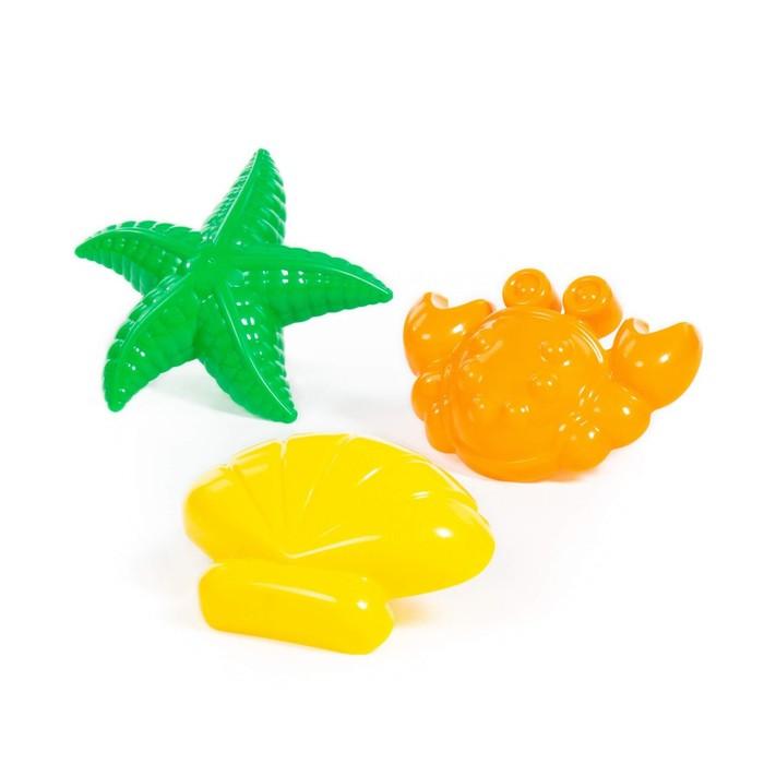 Набор формочек: краб, ракушка и морская звезда, цвета МИКС