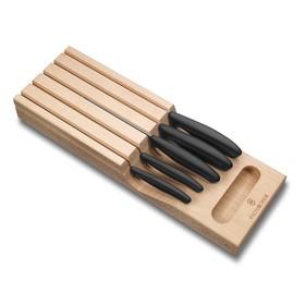 Набор из 5 кухонных ножей VICTORINOX, в подставке из бука, 43×6,5×14,5 см