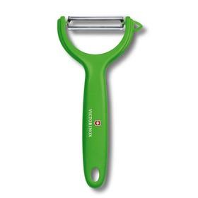 Нож для чистки томатов и киви VICTORINOX, двустороннее зубчатое лезвие, зелёная рукоять