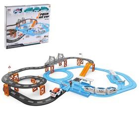 Автотрек железная дорога «Большое путешествие», с машинкой и поездом, перекресток, светофор