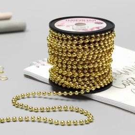 Rhinestones on the strands, round, 4 mm, 9±1 m, color gold