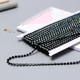 """Rhinestones on the fibers of 4 mm, 9±1 m, color """"black holography"""""""