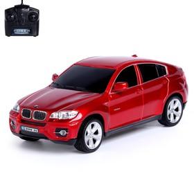 Машина радиоуправляемая BMW X6, масштаб 1:24, работает от батареек, свет, цвет красный