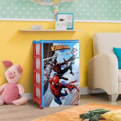 Комод детский широкий 4-х секционный «Человек Паук», цвет красно-синий