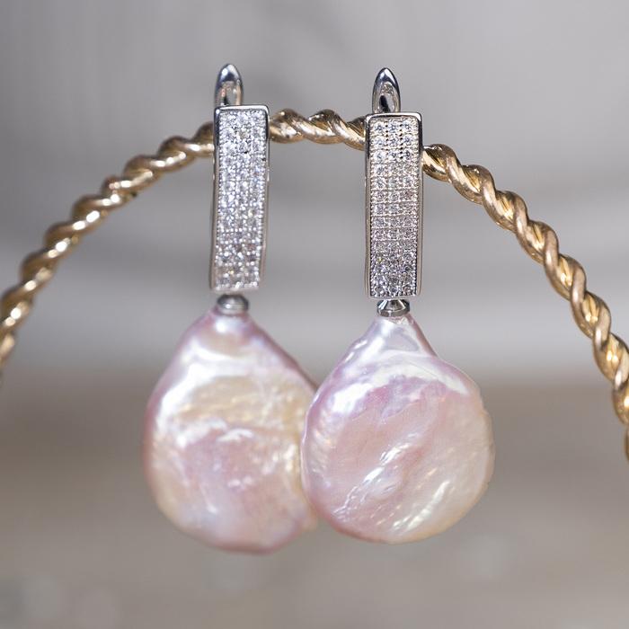 """Серьги """"Жемчуг кеши"""" капля крупная, цвет розовый в серебре"""