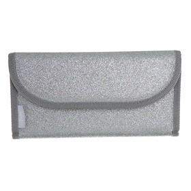 Пенал раскладной на липучке, 115 х 220 мм, «Оникс», ПМП 41-55, экокожа, с блёстками, «Серебряное сияние», плоский