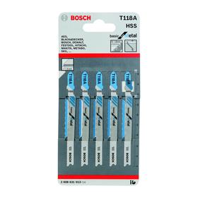 Пилки для лобзика Bosch 2608631014, 5 шт., по металлу, 67/90 мм, шаг 1.9-2.3 мм, прямой рез   456246 Ош
