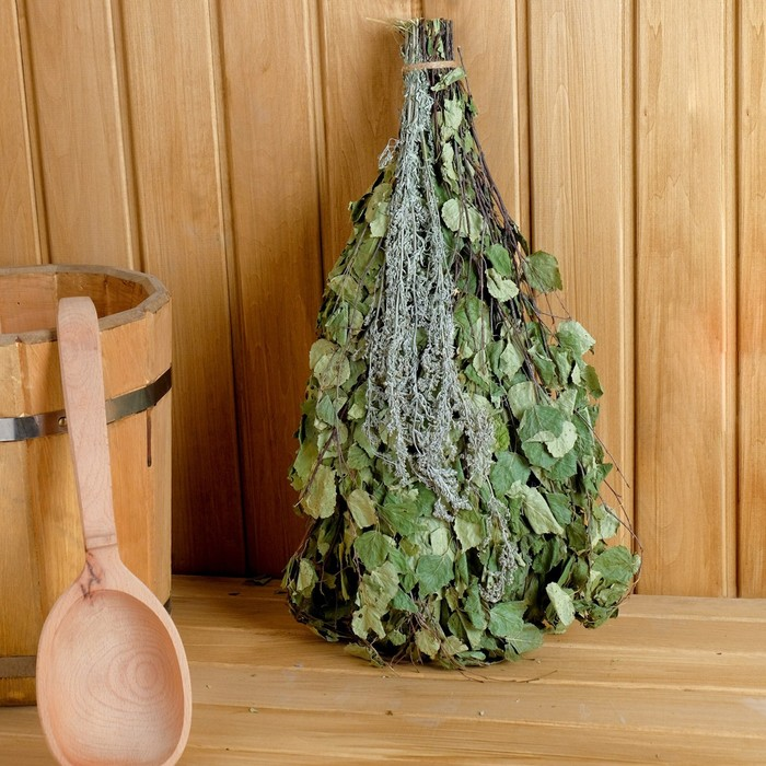 Веник для бани берёзовый со степной полыни, в пакете