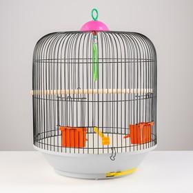 Клетка для птиц круглая, двухъярусная сварная, большой поддон, 39 x 44 см, микс цветов
