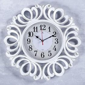 """Часы настенные, серия: Классика, """"Вермонт"""", белое золото, 45.5 см"""