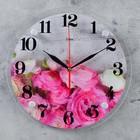 """Wall clock, series: Flowers, """"Pink peonies"""", 30 cm"""