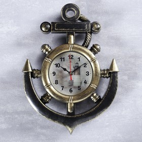 """Wall clock, series: the Sea """"lighthouse"""", brass color, 38 cm"""