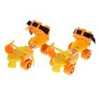 Ролики для обуви раздвижные, размер 16-21 см, колеса РVC d = 45 мм, цвет оранжевый