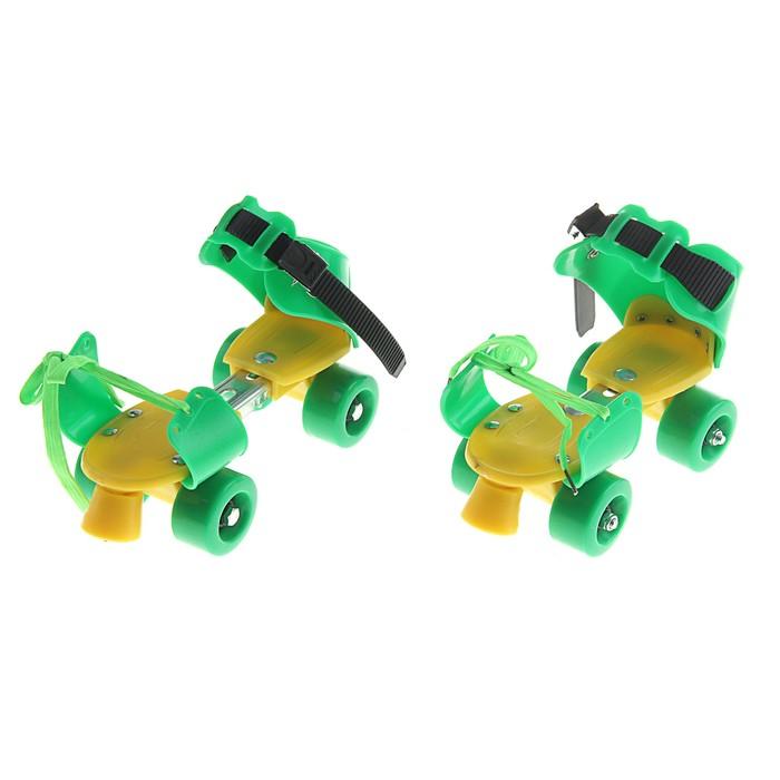 Ролики для обуви раздвижные, размер 16-21 см, колеса РVC d = 45 мм, цвет зеленый