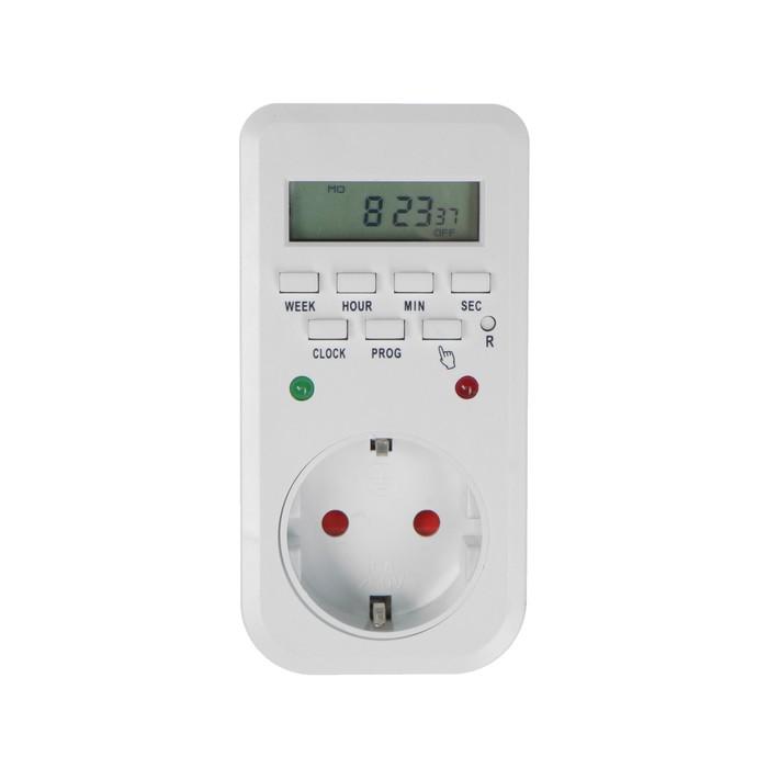 Розеточный электронный таймер недельный Luazon Lighting, 16A, шаг 1 мин, 220 В