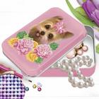 """Алмазная вышивка на шкатулке """"Собака и цветы"""" 22,8*15,8 см"""