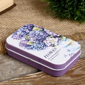 "Box metal rectangular ""watercolor Flowers"" MIX 2,1x6,3x9,8 cm"