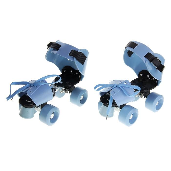 Ролики для обуви раздвижные, размер 19-25 см, колеса РVC d = 50 мм, цвет голубой