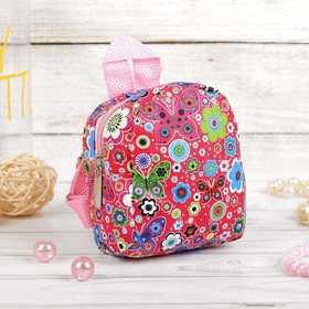 """Backpack for dolls, """"Flowers"""", red"""