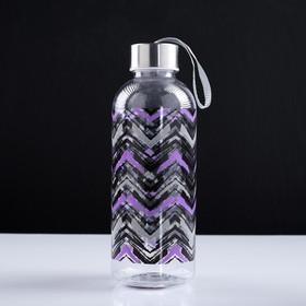 Бутылка для воды 700 мл, крышка с подвесом, 20.5х7 см, микс