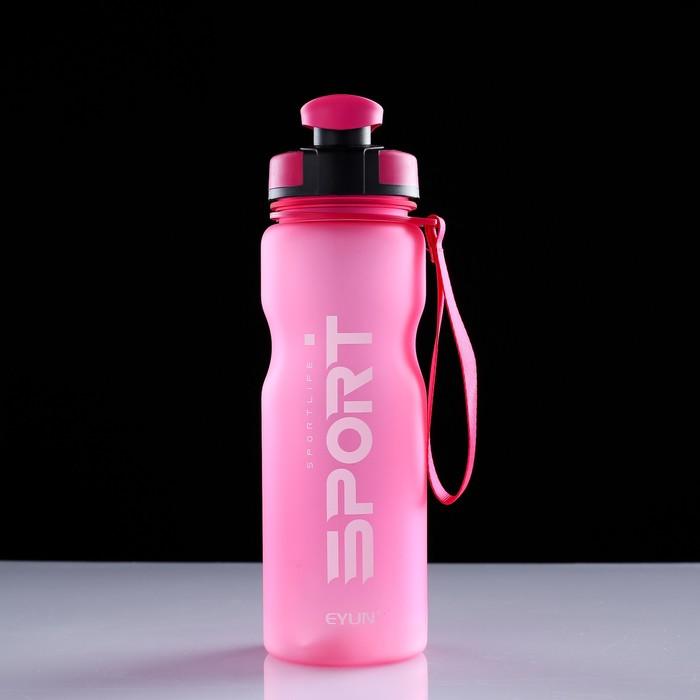 Бутылка для воды 800 мл, с прорезиненной крышкой, 25х7.5 см, микс