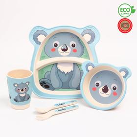 "A set of bamboo utensils ""Koala"", plate, bowl, Cup, Cutlery, 5-piece"