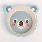 """Набор бамбуковой посуды """"Коала"""", тарелка, миска, стакан, приборы, 5 предметов - фото 105459187"""