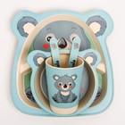 """Набор бамбуковой посуды """"Коала"""", тарелка, миска, стакан, приборы, 5 предметов - фото 105459190"""
