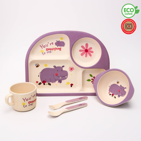 """A set of bamboo utensils """"Hippo"""", plate, bowl, Cup, Cutlery, 5-piece"""