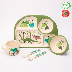 """A set of bamboo utensils """"Dinosaurs"""", plate, bowl, Cup, Cutlery, 5-piece"""
