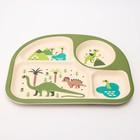 """Набор бамбуковой посуды """"Динозавры"""", тарелка, миска, стакан, приборы, 5 предметов - фото 105459453"""