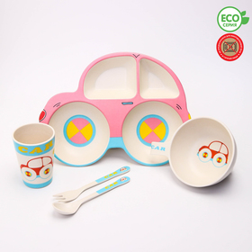 A set of bamboo tableware Machine, plate, bowl, Cup, Cutlery, 5-piece