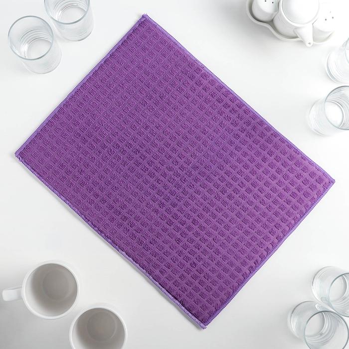 Салфетка для сушки посуды Доляна, 30×40 см, микрофибра, цвет фиолетовый