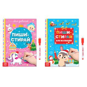 Набор новогодних многоразовых книг №2 «Пиши-стирай», 2 шт. по 12 стр.